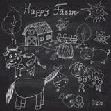 De gelukkige geplaatste pictogrammen van landbouwbedrijfkrabbels Hand getrokken schets met paard, koe, schapenvarken en schuur ki Royalty-vrije Stock Foto's