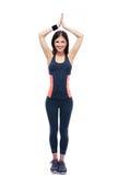 De gelukkige geschiktheidsvrouw die yoga doen excersise Stock Fotografie