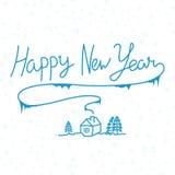 De gelukkige getrokken inschrijving van de Nieuwjaar lineaire kalligrafie hand op whit Stock Foto