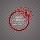 De gelukkige gouden de groetkaart van Nieuwjaar Vrolijke Kerstmis schittert decoratie het ornament van de groetkaart van cirkel e Stock Foto