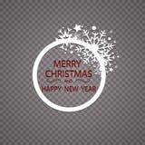 De gelukkige gouden de groetkaart van Nieuwjaar Vrolijke Kerstmis schittert decoratie het ornament van de groetkaart van cirkel e Royalty-vrije Stock Afbeeldingen