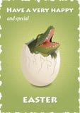 De gelukkige grappige kaart van Pasen met krokodil in eierschaal Stock Foto