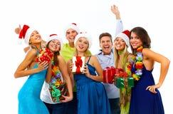 De gelukkige groep van Kerstmismensen. royalty-vrije stock foto