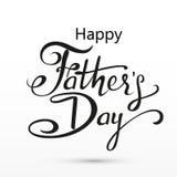 De gelukkige groet van de Vadersdag Van letters voorziende Kaart Vectorachtergrond met krabbelstropdassen, vlinderdas en glazen Stock Afbeelding