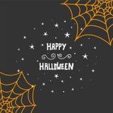 De gelukkige Halloween-achtergrond van het berichtontwerp Hand het getrokken van letters voorzien Royalty-vrije Stock Foto's