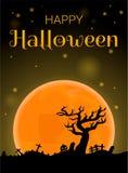 De gelukkige Halloween-achtergrond van het volle maanconcept, beeldverhaalstijl stock illustratie