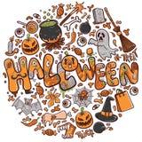 De gelukkige Halloween-groetkaart of illustratie van de bannervakantie royalty-vrije illustratie