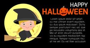 De gelukkige Halloween-het Affichepartij en thema ontwerpen achtergrond, Malplaatje voor reclamefolder Stock Illustratie