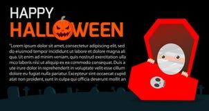 De gelukkige Halloween-het Affichepartij en thema ontwerpen achtergrond, Malplaatje voor reclamefolder Vector Illustratie