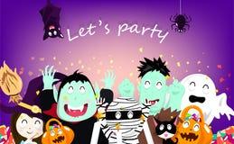 De gelukkige Halloween-partijviering, confettienexplosie, vampier, pompoen, brij, griezelige katten, behekst, knuppels, spin en z vector illustratie