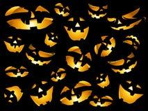 De gelukkige Halloween-pompoenen ziet achtergrond onder ogen Stock Foto