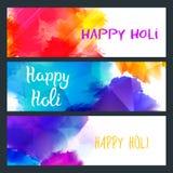 De gelukkige Heldere Banners van Holi Royalty-vrije Stock Afbeeldingen