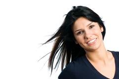 De gelukkige het glimlachen mooie ruimte van het meisjesexemplaar royalty-vrije stock fotografie
