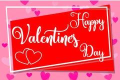 De gelukkige horizontale kleurrijke affiche van de valentijnskaarts dag, kader, harten Royalty-vrije Stock Afbeelding