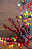 De gelukkige Houten Achtergrond van Halloween Royalty-vrije Stock Afbeeldingen