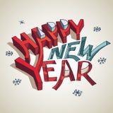 De gelukkige illustratie van de Nieuwjaar 3d typografie Stock Afbeelding