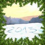 De gelukkige illustratie van de Nieuwjaar 2015 rooster stock afbeelding