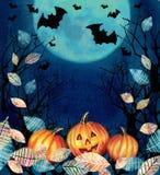 De gelukkige Illustratie van Halloween Griezelige achtergrond met donkere vallei Royalty-vrije Stock Foto's