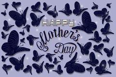 De gelukkige illustratie van de de hand van letters voorziende kaart van de moedersdag royalty-vrije illustratie