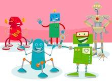 De gelukkige illustratie van het de groepsbeeldverhaal van robotkarakters stock illustratie