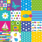 De gelukkige inzameling van het lapwerkpatroon Stock Afbeeldingen