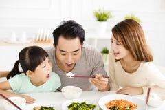 De gelukkige jonge Familie geniet van hun lunch stock afbeelding
