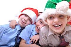 De gelukkige jonge geitjes van Kerstmis royalty-vrije stock fotografie