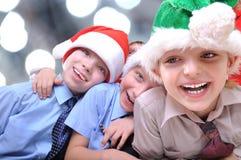 De gelukkige jonge geitjes van Kerstmis royalty-vrije stock afbeelding