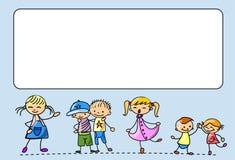De gelukkige jonge geitjesdans, zingt, springt, loopt, vector Stock Foto's