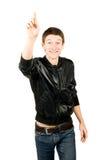 De gelukkige jonge mens die heeft een groot idee glimlacht Stock Fotografie