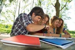 De gelukkige jonge studenten van het portret in park Stock Foto