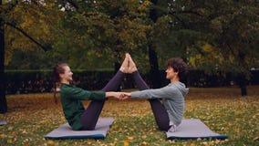 De gelukkige jonge vrouwen doen paaryoga die pret en het lachen zitting op matten op gras in park hebben Mooie de herfstaard stock video