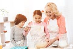 De gelukkige jongen met bakselschotel bekijkt meisje dat deeg in kom met haar grootmoeder mept stock afbeelding