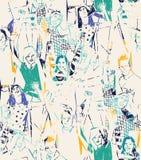 De gelukkige jongeren vat naadloos patroon samen Royalty-vrije Stock Fotografie