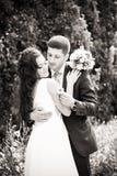 De gelukkige jonggehuwden in de zomer parkeren Stock Fotografie