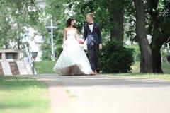 De gelukkige jonggehuwden lopen in het Park outdoors stock afbeelding