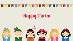 De gelukkige Joodse kinderen in kostuum genieten van Purim Stock Afbeelding
