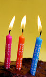 De gelukkige kaarsen van de Verjaardag Stock Afbeeldingen