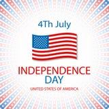 De gelukkige kaart de Verenigde Staten van Amerika, 4 van de onafhankelijkheidsdag Juli Royalty-vrije Stock Foto