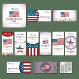 De gelukkige kaart de Verenigde Staten van Amerika, 4 van de onafhankelijkheidsdag Juli Stock Afbeelding