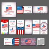 De gelukkige kaart de Verenigde Staten van Amerika, 4 van de onafhankelijkheidsdag Juli Stock Foto