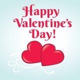 De gelukkige kaart van de Dag van Valentijnskaarten met harten Royalty-vrije Stock Afbeelding