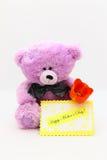 De gelukkige Kaart van de Dag van Moeders - de Foto van de Voorraad van de Teddybeer Stock Foto's