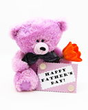 De gelukkige Kaart van de Dag van Vaders - de Foto van de Voorraad van de Teddybeer Stock Foto's