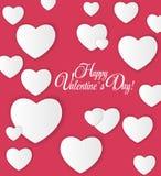 De gelukkige kaart van de Dag van Valentijnskaarten met hart Vector Stock Fotografie