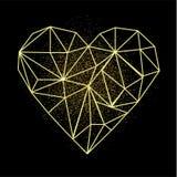 De gelukkige kaart van de de daggroet van Valentijnskaarten Hartvorm in lage polystijl met gouden zand achter het hart stock illustratie