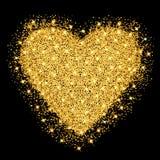 De gelukkige kaart van de de daggroet van Valentijnskaarten Het gouden hart met schittert sterren en deeltjes stock illustratie