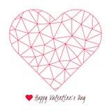 De gelukkige kaart van de de Daggroet van Valentine ` s, het vector poly rode symbool van de hartvorm Royalty-vrije Stock Fotografie