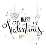 De gelukkige kaart van de de liefdegroet van de valentijnskaartendag met de witte lage polyvorm van het stijlhart in gouden schit royalty-vrije illustratie