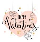 De gelukkige kaart van de de liefdegroet van de valentijnskaartendag met de witte lage polyvorm van het stijlhart in gouden schit stock illustratie